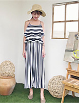 Women's Going out Street chic Summer T-shirt Pant Suits,Striped Round Neck Short Sleeve Backless Inelastic