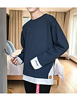 Men's Daily Sweatshirt Color Block Crew Neck Micro-elastic Cotton Long Sleeve Winter Fall