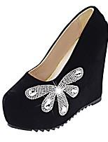Femme Chaussures Polyuréthane Eté Confort Chaussures à Talons Talon Compensé Bout rond Strass Pour Décontracté Noir