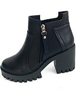 Mujer Zapatos PU Otoño Botas de Moda Botas Tacón Robusto Dedo redondo Cremallera Para Casual Negro Caqui