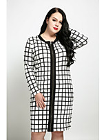 Cute Ann Women's Plus Size Casual/Daily Sexy Vintage Street chic Shift Dress,Check Round Neck Knee-length Long Sleeves Cotton Polyester All