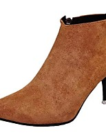 Mujer Zapatos PU Otoño Botas de Combate Botas Tacón Stiletto Dedo Puntiagudo Pompón Para Casual Negro Caqui