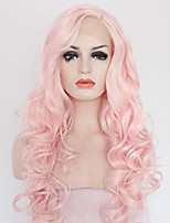 Women Synthetic Wig Lace Front Medium Length Long Curly Wavy Pink Lolita Wig Drag Wig Party Wig Celebrity Wig Halloween Wig Carnival Wig