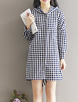 Women's Daily Simple Casual Fall Trench Coat,Print Hooded Long Sleeve Long Others