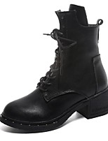 Women's Shoes PU Fall Winter Combat Boots Boots Block Heel Round Toe Mid-Calf Boots Lace-up For Casual Black