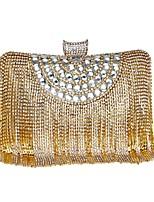 Donna Sacchetti Per tutte le stagioni Poliestere Borsa da sera Perline Dettagli con perline per Serata/evento Oro