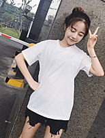 Women's Daily Casual T-shirt,Floral Round Neck Short Sleeves Cotton