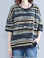 Women's Daily Casual T-shirt,Striped Round Neck Short Sleeves Cotton