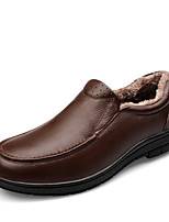 Men's Shoes Nappa Leather Fall Winter Fluff Lining Comfort Loafers & Slip-Ons For Casual Office & Career Brown Black