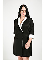 Cute Ann Women's Plus Size Casual/Daily Simple Street chic Fall Trench Coat,Color Block Shirt Collar Half Sleeves Long Cotton Polyester