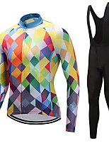 Cycling Jersey with Bib Tights Unisex Long Sleeves Bike Clothing Suits Windproof Geometric Checks Fashion Winter Cycling/Bike White Black