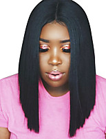 Women Synthetic Wig Lace Front Blunt Bob Haircut Medium Length Straight Dark Brown Black Natural Hairline Natural Wigs Costume Wig