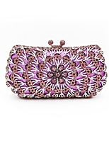 Women Bags All Seasons Metal Evening Bag Crystal Detailing for Wedding Event/Party Purple