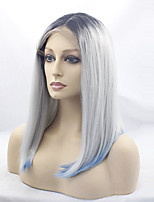 Women Synthetic Wig Lace Front Medium Length Straight Grey Ombre Hair Dark Roots Middle Part Cosplay Wig Costume Wig