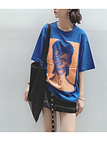 Women's Going out Casual T-shirt,Solid Print Round Neck Half Sleeves Cotton