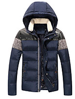 Men's Down Coat,Simple Casual/Daily Print-Others White Duck Down Long Sleeves