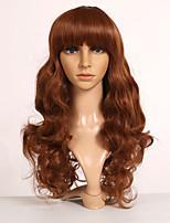 Women Synthetic Wig Capless Long Wavy Brown With Bangs Cosplay Wig Costume Wig