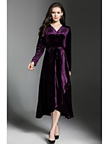 SHE IN SUN Women's Party Casual/Daily Simple Street chic Swing Dress,Solid V Neck Maxi Long Sleeves Polyester Velvet Fall Winter Mid Rise Inelastic