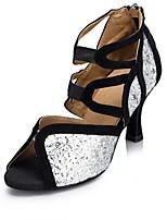Women's Latin Sparkling Glitter Sandal Performance Buckle Cuban Heel Silver/Black 1