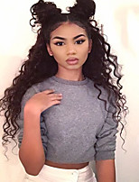 Women Human Hair Lace Wig Brazilian Human Hair Full Lace 130% Density Layered Haircut With Baby Hair Curly Wig Black Medium Brown Dark