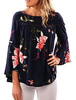 Tee-shirt Femme,Fleur Vacances Décontracté / Quotidien Chic de Rue Printemps Automne Manches Longues Col Arrondi Polyester