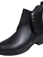 Feminino Sapatos Couro Ecológico Outono Conforto Botas da Moda Botas Salto Grosso Ponta Redonda Botas Cano Médio Ziper Para Casual Preto