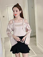 Women's Casual/Daily Simple Blouse,Solid Boat Neck Long Sleeves Rayon