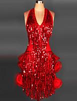dovremo fare abiti naturali senza maniche di nappa di nylon di prestazioni delle donne di ballo latino