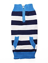 Dog Sweater Dog Clothes Casual/Daily Stripe Red Blue Costume For Pets