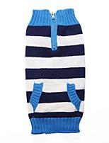 Chien Pull Vêtements pour Chien Fibres Acryliques Duvet Hiver Printemps/Automne Décontracté / Quotidien Rayure Rouge Bleu Costume Pour