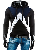 Men's Sports Plus Size Vintage Hoodie Color Block Hooded Micro-elastic Cotton ¾ Sleeve Fall Winter