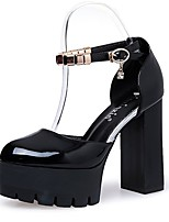 Women's Shoes PU Fall Comfort Heels Block Heel Round Toe Rhinestone For Casual Red Gray Black