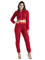 Women's Sports Daily Simple Fall Winter Hoodie Pant Suits