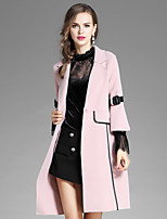 Women's Daily Going out Street chic Fall Coat,Solid Notch Lapel ¾ Sleeve Long Polyester Lace Mesh