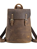 Unisex Bags Cowhide Backpack Buttons for Casual Outdoor All Seasons Brown