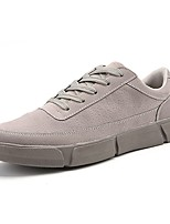 Men's Shoes Leather Spring Fall Light Soles Sneakers Lace-up For Casual Gray Beige Black