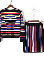 Women's Beach Simple Spring Fall T-shirt Skirt Suits,Solid Lines / Waves Color Block Round Neck Short Sleeve