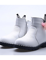 Girls' Shoes Cowhide Winter Fashion Boots Boots Booties/Ankle Boots For Casual White Peach Red