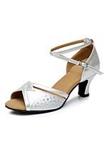 Women's Latin Sparkling Glitter Paillette Heel Professional Buckle Sparkling Glitter Cuban Heel Gold Silver Khaki