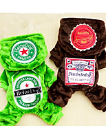 Cane Tuta Abbigliamento per cani Casual Geometrico Caffè Verde