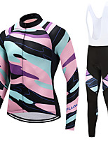 FUALRNY® Cycling Jersey with Bib Tights Men's Long Sleeves Bike Clothing Suits High Elasticity Fleece Winter Cycling/Bike Pink