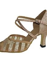 Women's Latin Paillette Tulle Professional Buckle Customized Heel Black Almond 1