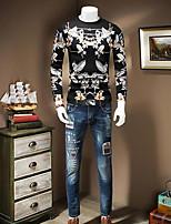 Для мужчин На каждый день Простое Обычный Пуловер Геометрический принт,Круглый вырез Длинный рукав Шерсть Осень Средняя Слабоэластичная