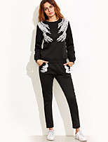 Women's Holiday Casual/Daily Simple Fall Winter Hoodie Pant Suits,Print Round Neck Long Sleeve