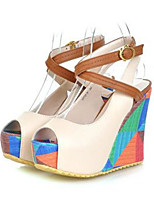 Women's Shoes PU Spring Fall Comfort Novelty Heels Wedge Heel Peep Toe For Wedding Party & Evening Almond Blue White