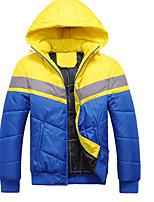 Men's Padded Coat,Simple Street chic Going out Casual/Daily Solid Color Block-Polyester Polyester Long Sleeves