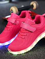 Girls' Shoes Fabric Net Fall Winter Light Up Shoes Comfort Sneakers Magic Tape LED For Casual Outdoor Blushing Pink Gray Dark Blue Black