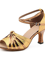 Women's Latin Faux Fur Sandal Sneaker Professional Chunky Heel Yellow Gold