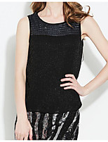 Women's Holiday Tank Top,Solid Round Neck Sleeveless Cotton
