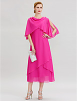 Sheath / Column Cowl Neck Tea Length Chiffon Mother of the Bride Dress with Beading Pleats by LAN TING BRIDE®